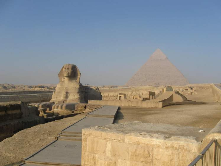 The Sphinx in front of Khafre's Pyramid