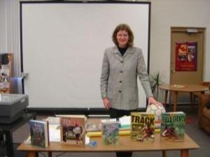 Posing with my props at a Kenowa Hills middle school